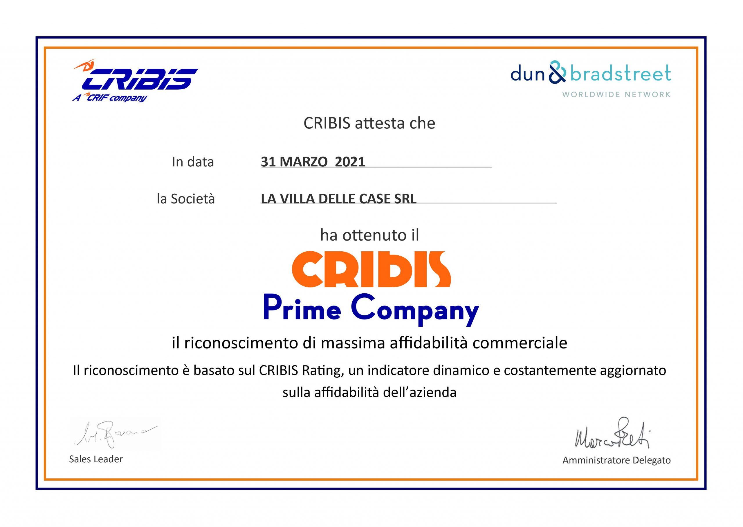 Certificazione CRIBIS